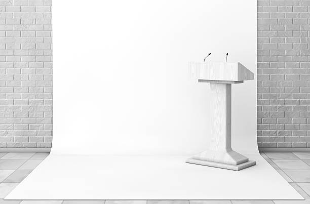 Tribune Rostrum Stand with Microphones in Studio Room. 3d Render stock photo