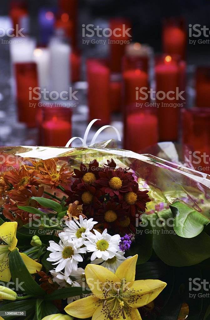 Tribute candles and flowers royalty-free stock photo