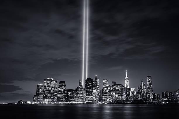 Tribute in Light 2015 (B&W) stock photo