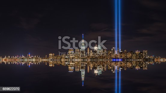 istock Tribute in Light from Liberty State Park, New Jersey 659622070