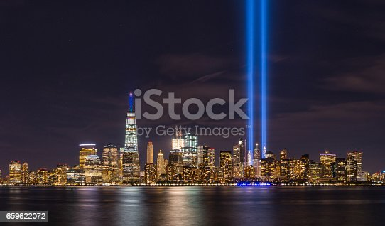 istock Tribute in Light from Liberty State Park, New Jersey 659622072