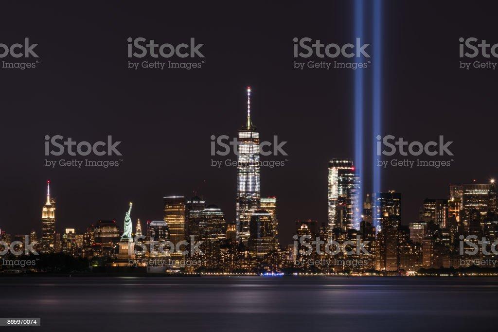 Tribute In Light Memorial for New York City stock photo