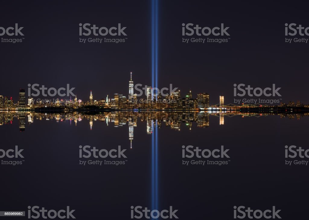 NYC Tribute In Light Mirror Reflections stock photo