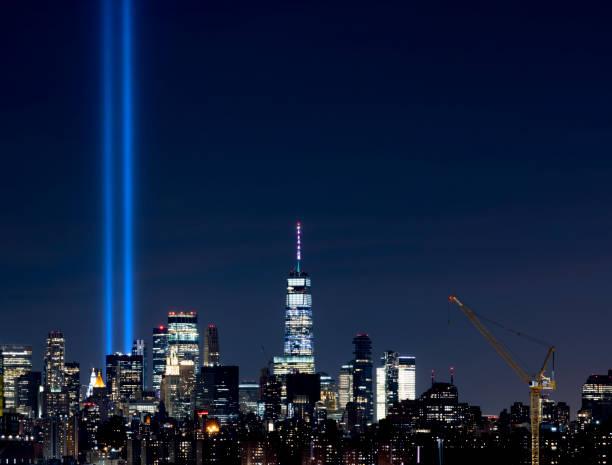 Tribute in Light NYC Skyline stock photo