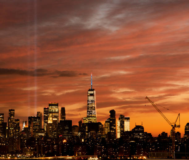 Tribute in Light NYC Sunset stock photo