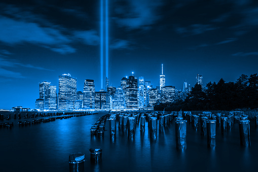 9/11 beacons rising up from Lower Manhattan