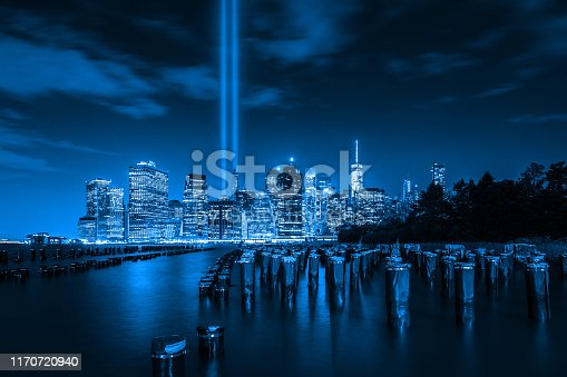 9/11 beacons rising up from Lower Manhattan