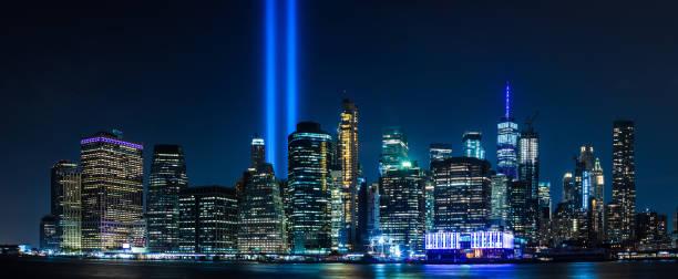 9/11 Tribute in Light stock photo