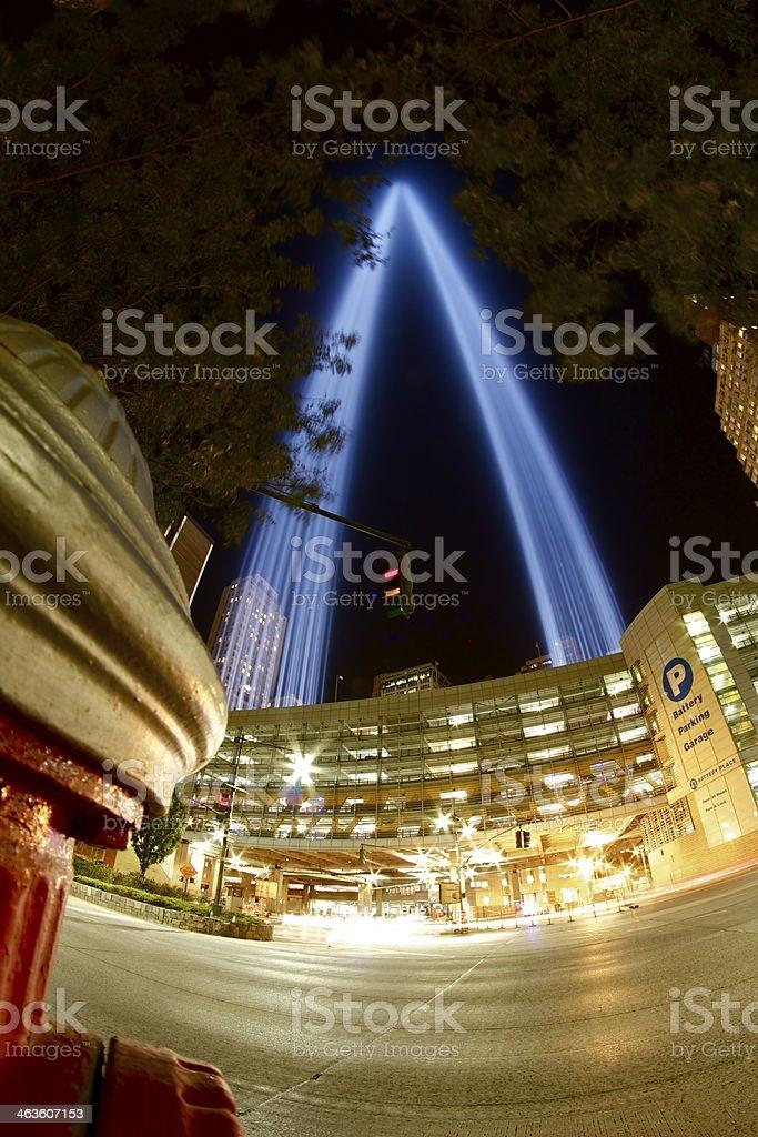 9/11 Tribute Lights stock photo