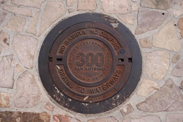 Tricentennial San Antonio Manhole Cover stock photo