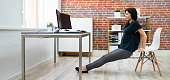 istock Triceps Dips Chair Exercise 1249379705