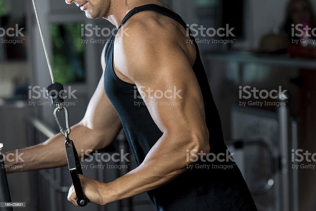 Tríceps estén muy bien cuidados Pulldown de ejercicios foto de stock libre de derechos