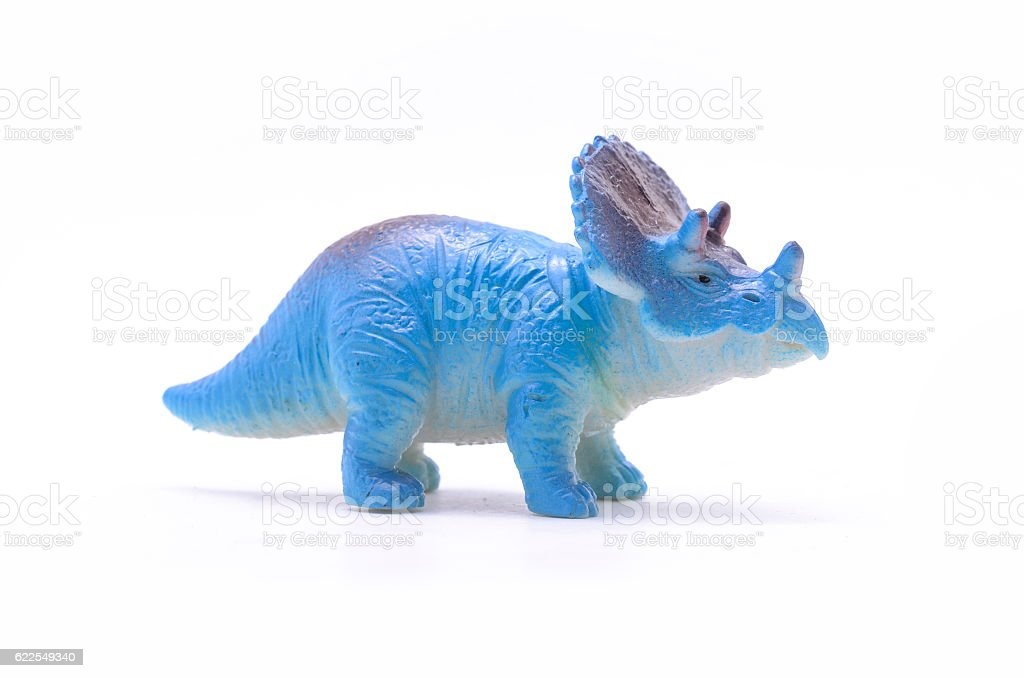 Triceratops dinosaur toy isolated on white - foto de acervo