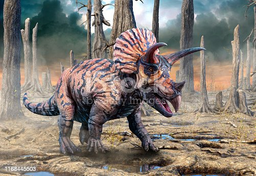 Triceratops from the Cretaceous era scene 3D illustration