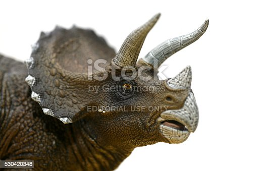 Heusenstamm, Germany - January 18, 2009: A Triceratops plastic toy model dinosaur from manufacturer Papo is looking at the camera, showing his impressive and namegiving three horns, focus is on the eye. French manufacturer Papo is famous for creating hand painted, highly realistic plastic models with moveable parts such as jaws, thus making their products quite expensive, less attractive as toys for children and more attractive as models for collectors.