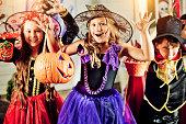 Children celebrating Halloween outdoors