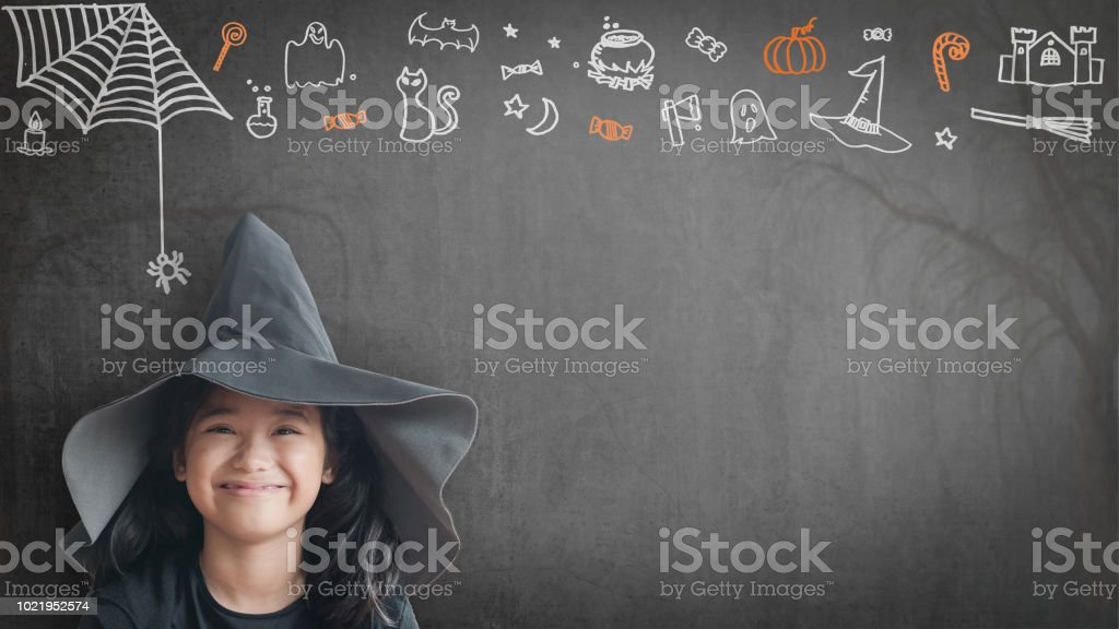 4bd1b568ad3 Trick or treat halloween girl kid having fun in witch hat black costume  with funny doodle