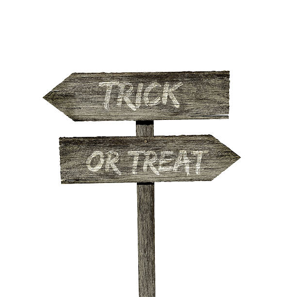 Trick or treat wooden sign stock photo