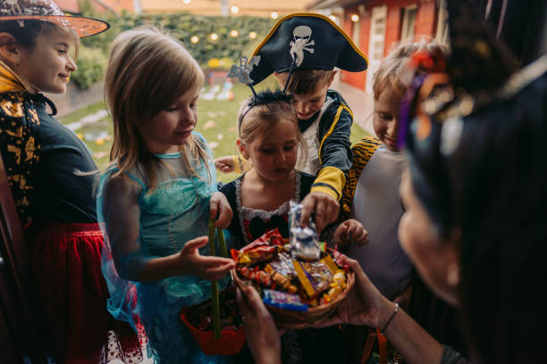 Trick or treating stock photo