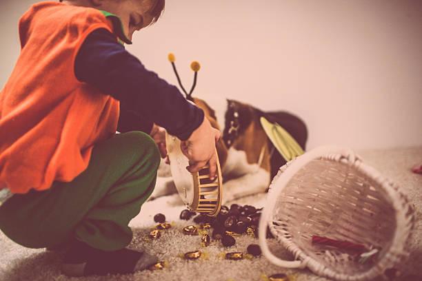 süßes oder saures-halloweenspruch leckereien - kastanientiere stock-fotos und bilder