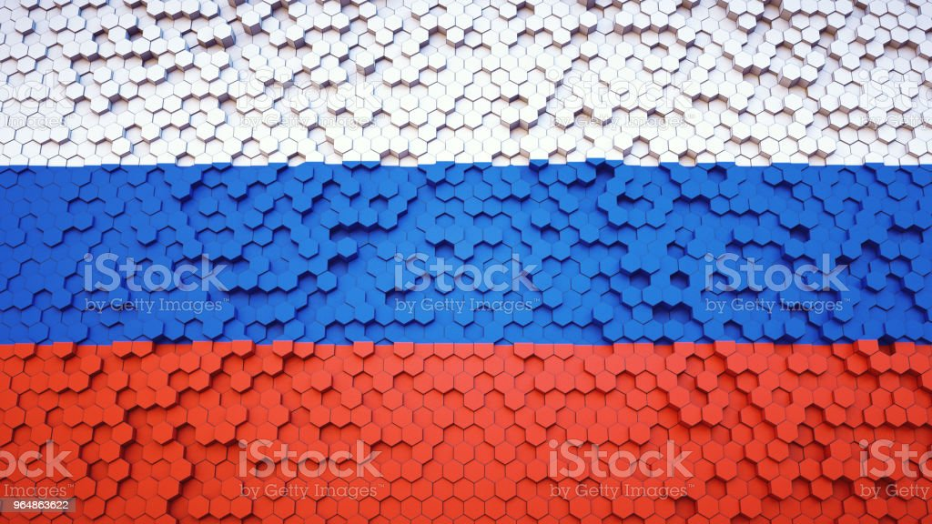 Tricolor hexagonal structure in the colors of the Russian flag royalty-free stock photo