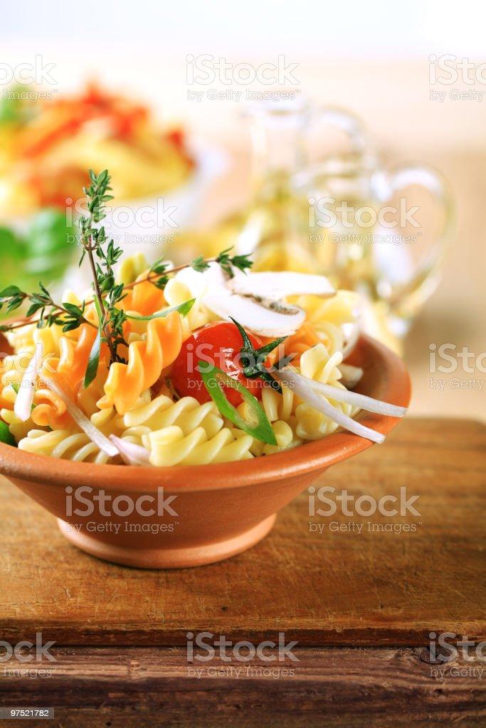 Tricolor spiralli pasta royalty-free stock photo