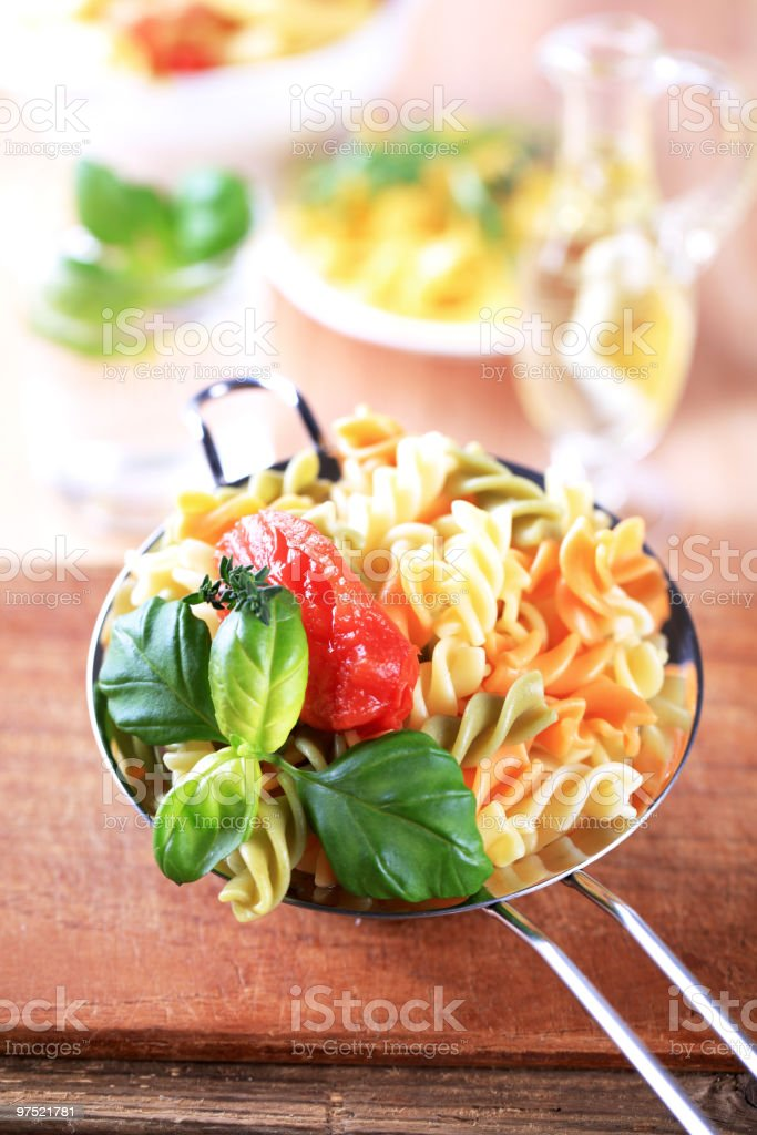 Tricolor spiralli pasta royalty-free stock photo
