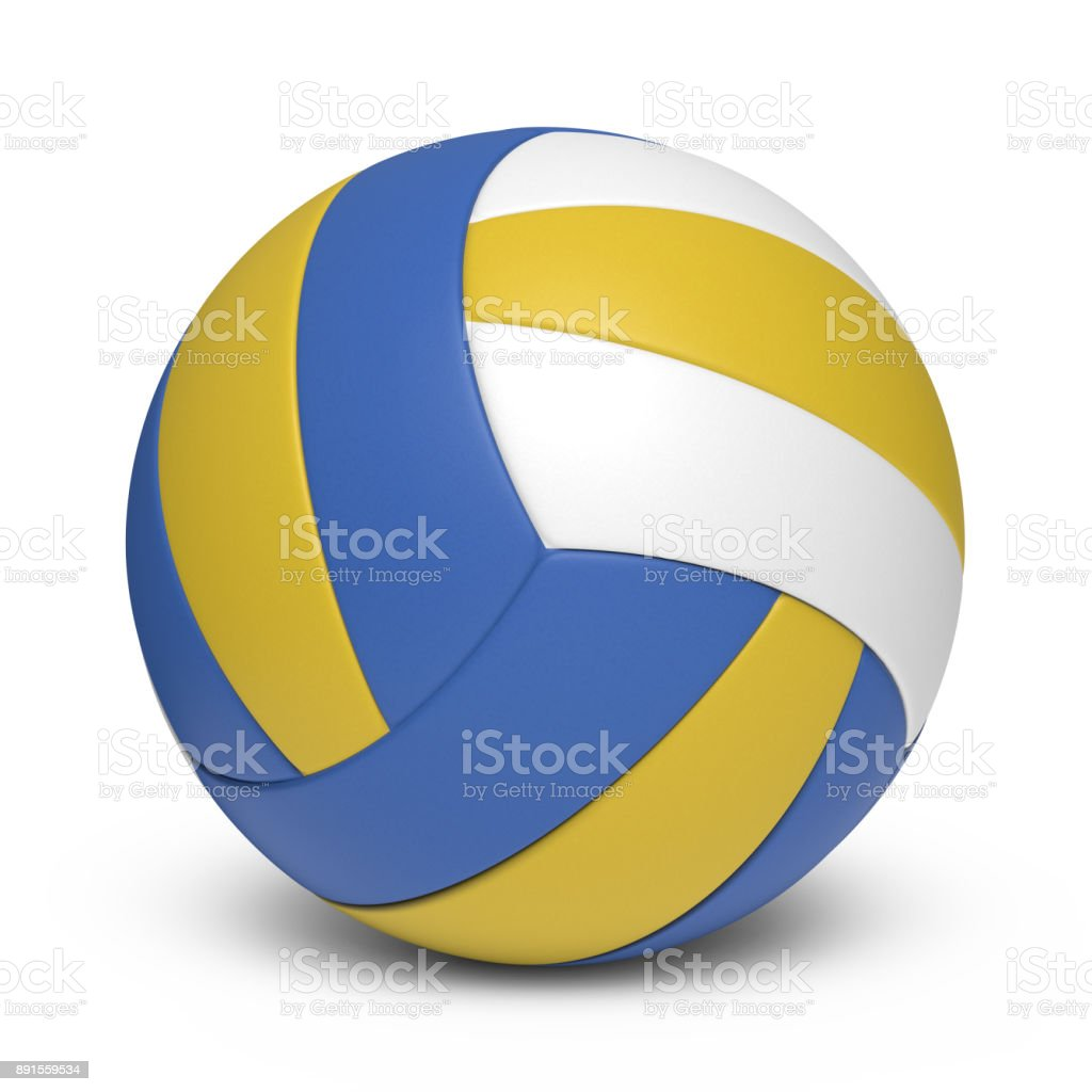 Tricolor volleyball leather ball - 18 segments stock photo