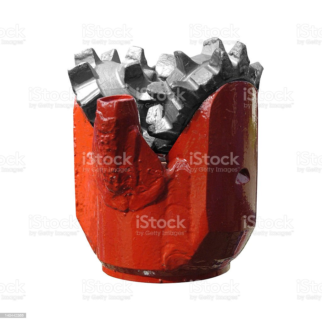 Tricone drill head for well drilling or oil minimg stock photo