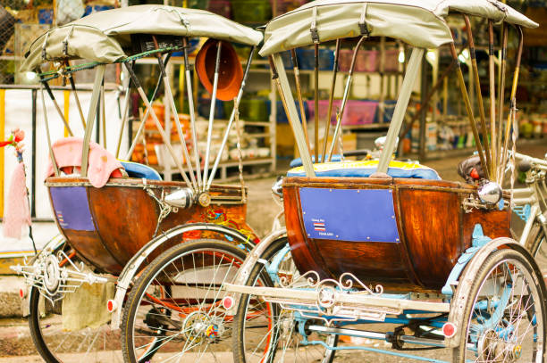 Tricycle taxi Two tricycle taxis in Thailand chiang mai province stock pictures, royalty-free photos & images