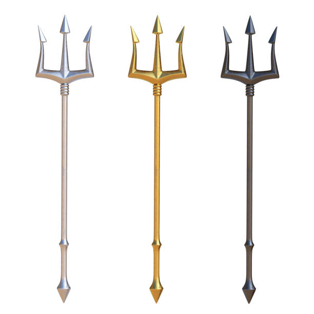 Tridents, silver, golden and black metal, isolated on white background Tridents, silver, golden and black metal, isolated on white background, 3d rendering pitchfork agricultural equipment stock pictures, royalty-free photos & images