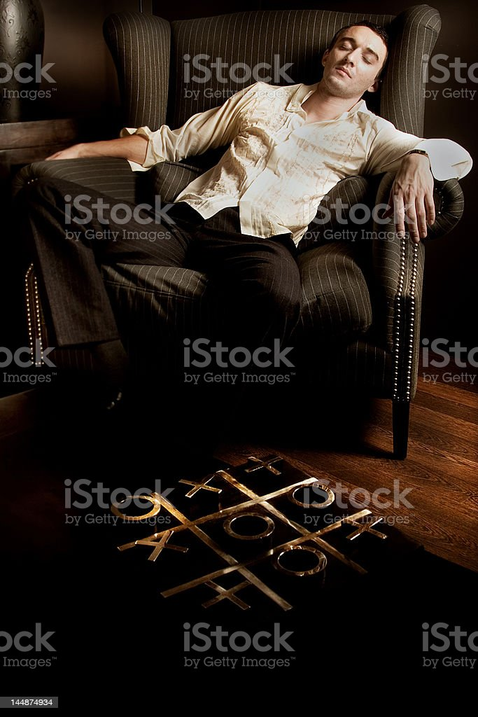 tried man sleeping royalty-free stock photo