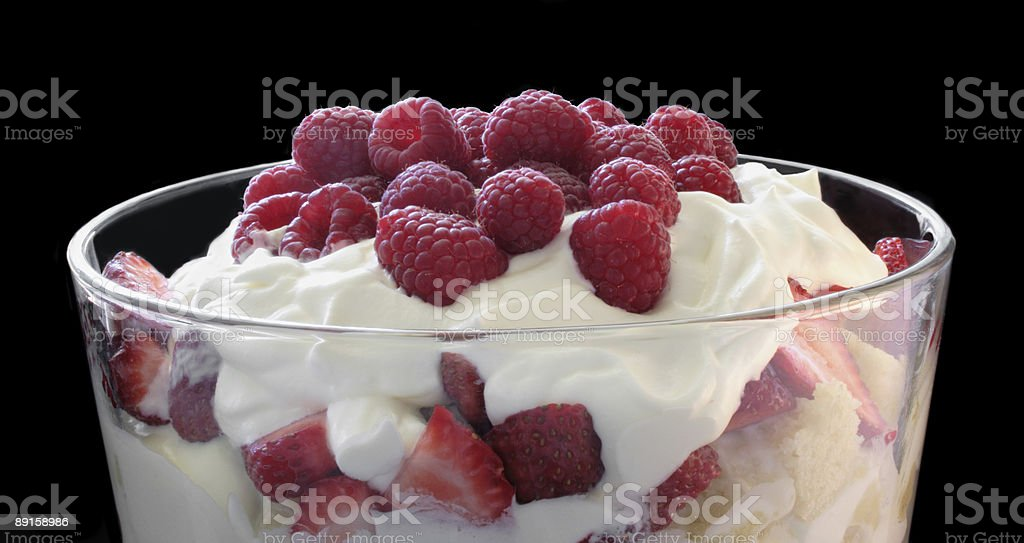 trifle with fresh berries stock photo