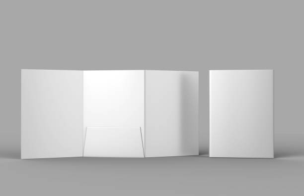 Tri-fold Blank white reinforced A4 middle single pocket folder catalog on grey background for mock up. 3D rendering. stock photo