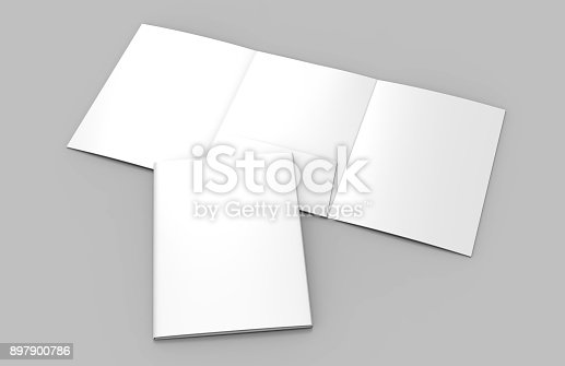 istock Tri-fold Blank white reinforced A4 middle single pocket folder catalog on grey background for mock up. 3D rendering. 897900786