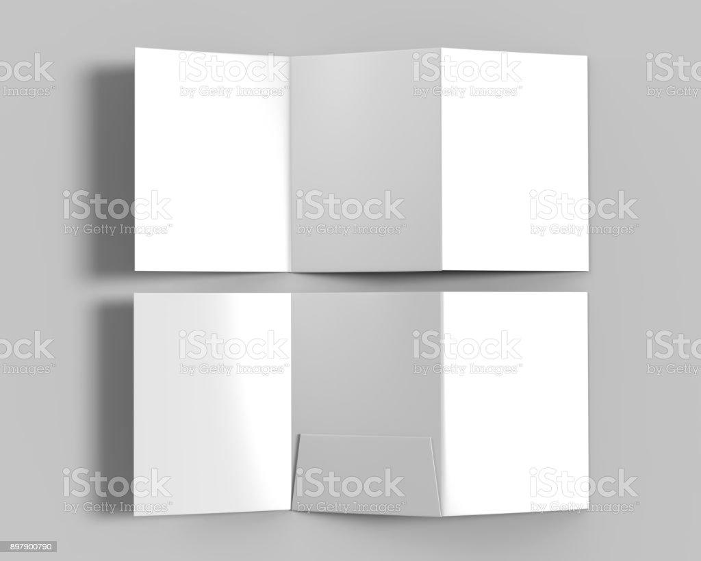 Tri-fold Blank white reinforced A4 middle single pocket folder catalog on grey background for mock up. 3D rendering. stock photo