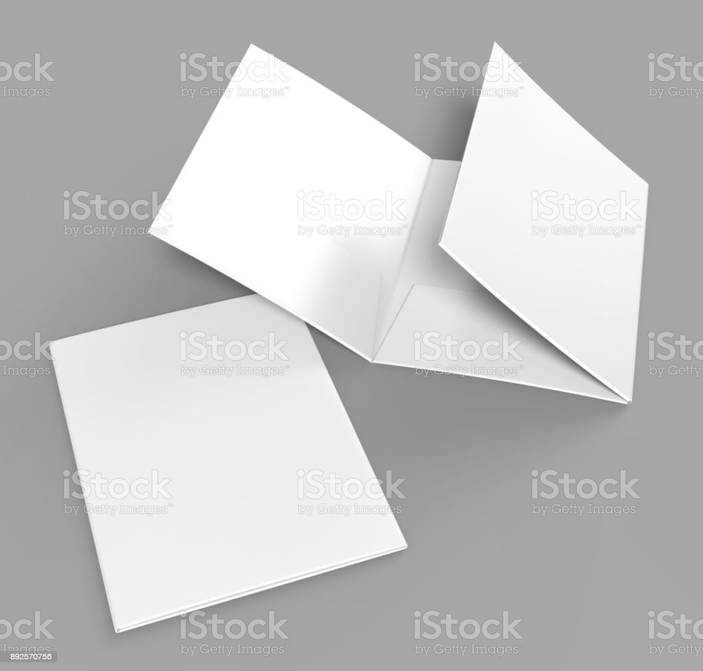 Tri-fold Blank white reinforced A4 three pocket folder catalog on grey background for mock up. 3D rendering. stock photo