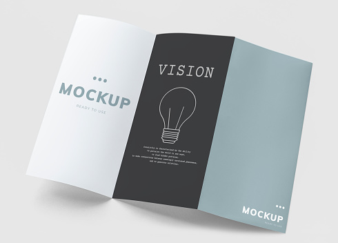 Tri-fold brochure mockup printed materials ***These are our own generic designs. They do not infringe on any copyrighted designs.