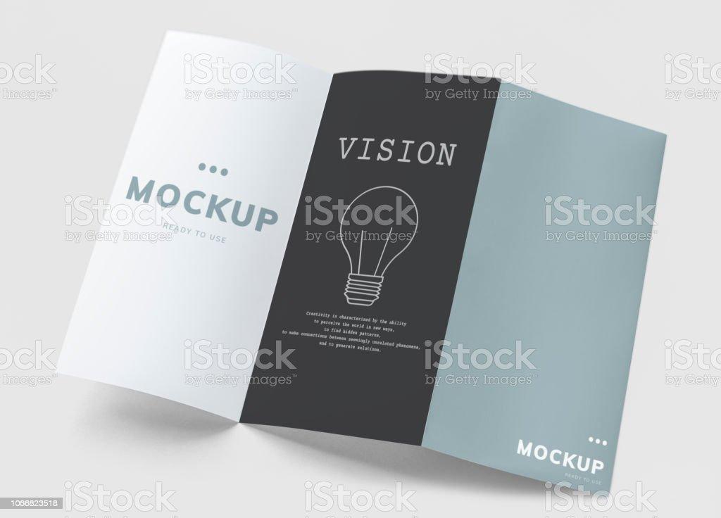 Tri-fold brochure mockup printed materials stock photo