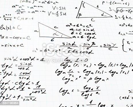 istock Trigonometry math equations and formulas 534196984