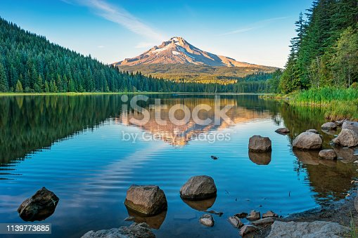 Stock photograph of Trillium Lake and Mount Hood Oregon USA at sunset.