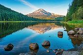 Stock photograph of Trillium Lake and Mount Hood Oregon USA at sunset.