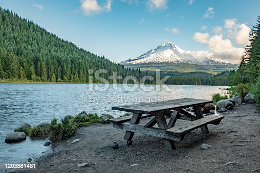 A view of Mt Hood from Trillium Lake near Portland Oregon
