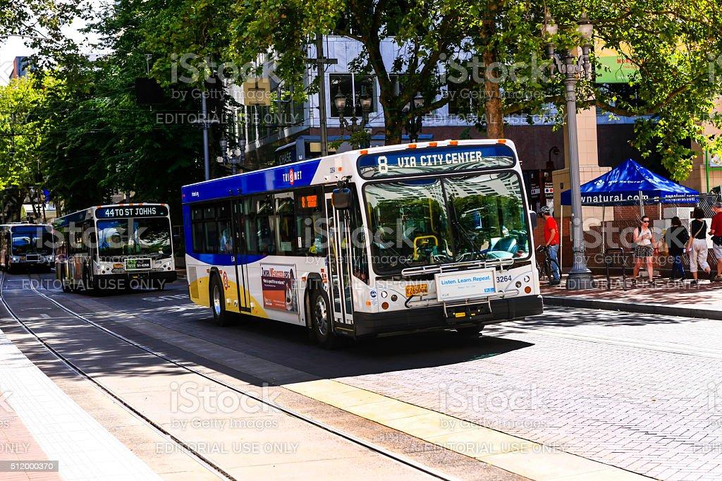 Trimet public bus in downtown Portland Oregon stock photo