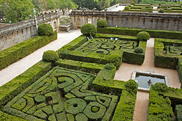 Trimmed maze hedges - El Escorial Madrid stock photo