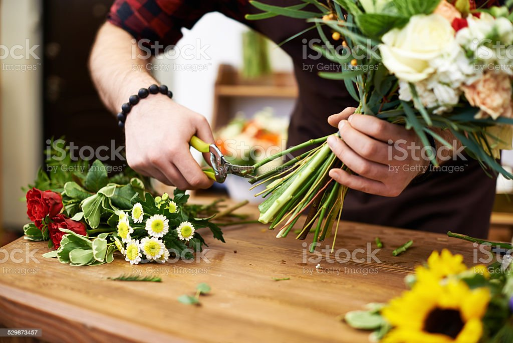 Trimming stems stock photo