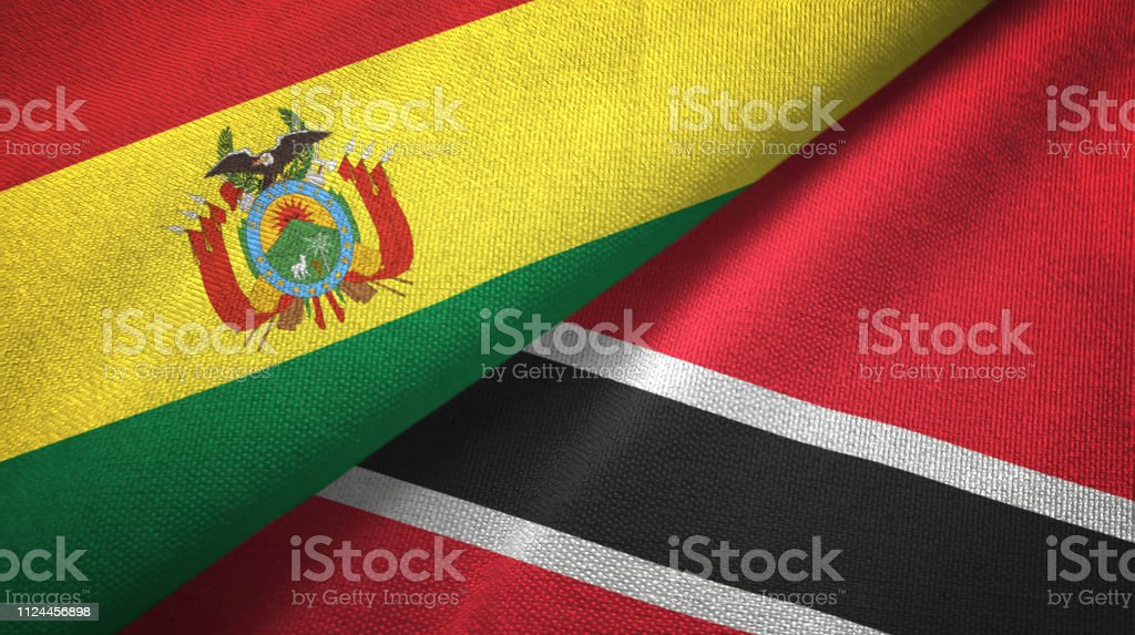 Trinidad and Tobago and Bolivia two flags together textile cloth, fabric texture stock photo