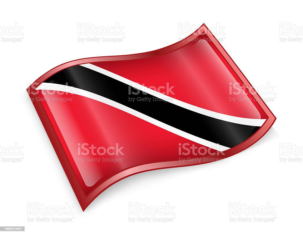 Trinidad and Tobago Flag icon, isolated on white background. stock photo