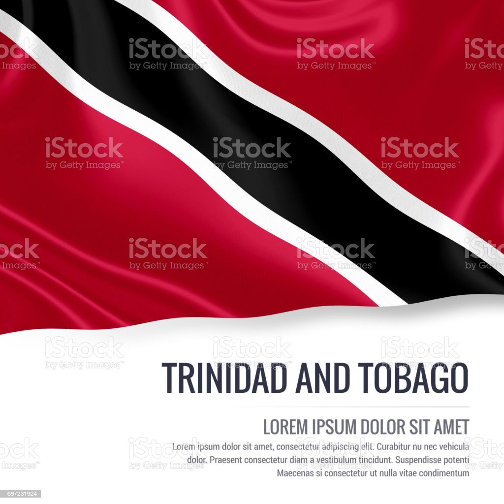 Trinidad and Tobago flag. Silky flag of Trinidad and Tobago waving on an isolated white background with the white text area for your advert message. 3D rendering. stock photo