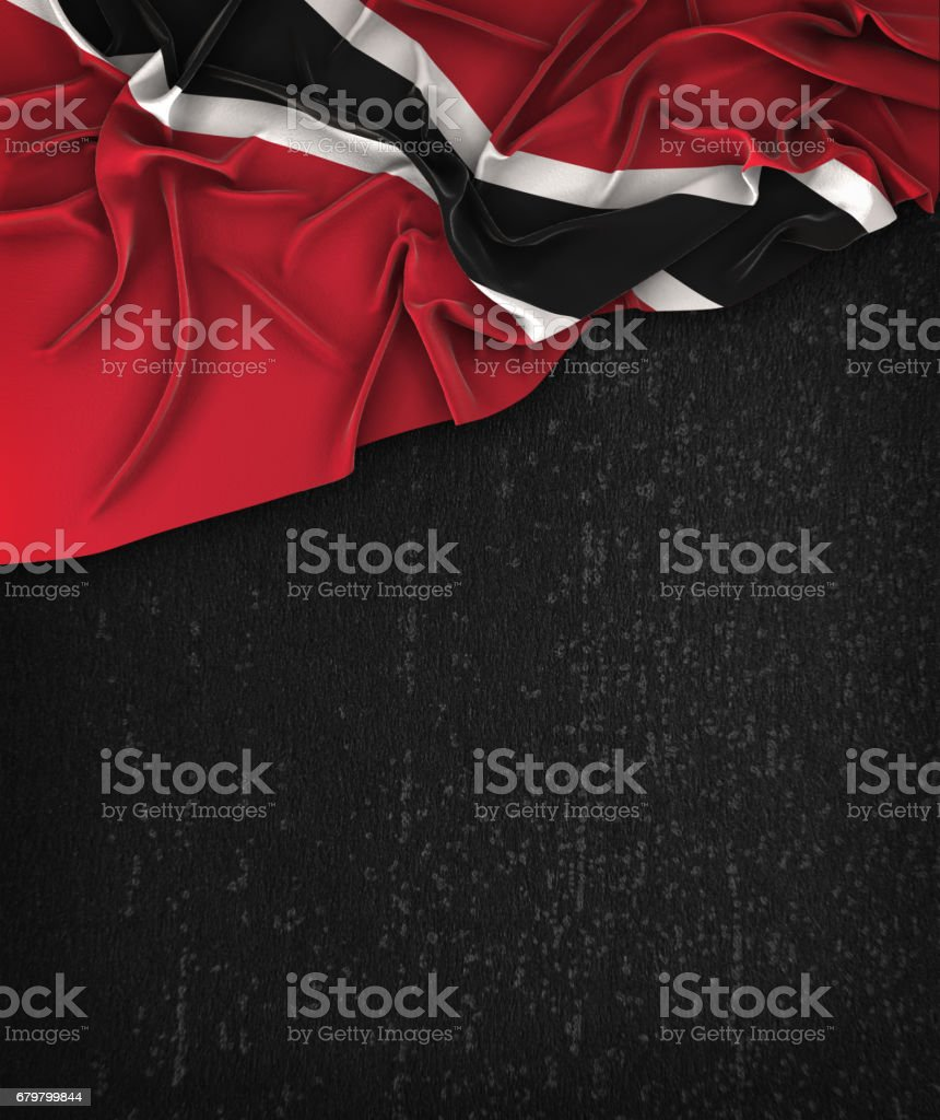 Trinidad and Tobago Flag Vintage on a Grunge Black Chalkboard With Space For Text stock photo
